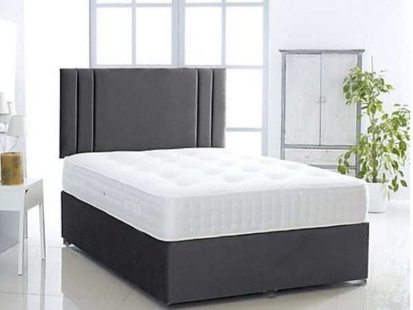 Grey Suede Divan Bed
