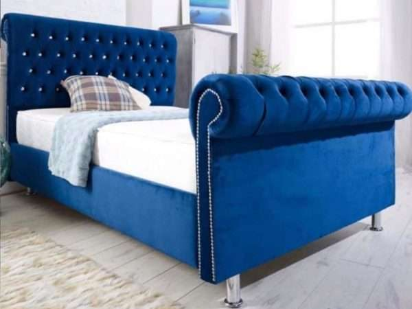 blue sleigh bed