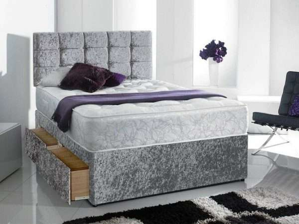 Silver Crushed Velvet Divan Bed