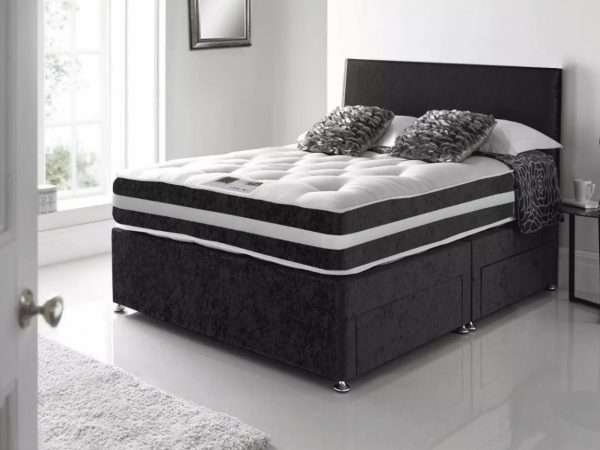 Black Crushed Velvet Divan Bed