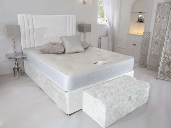 White Crushed Velvet Divan Bed