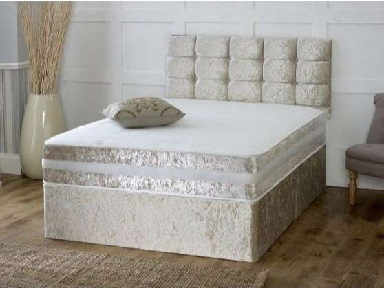 Champagne Crushed Velvet Divan Bed