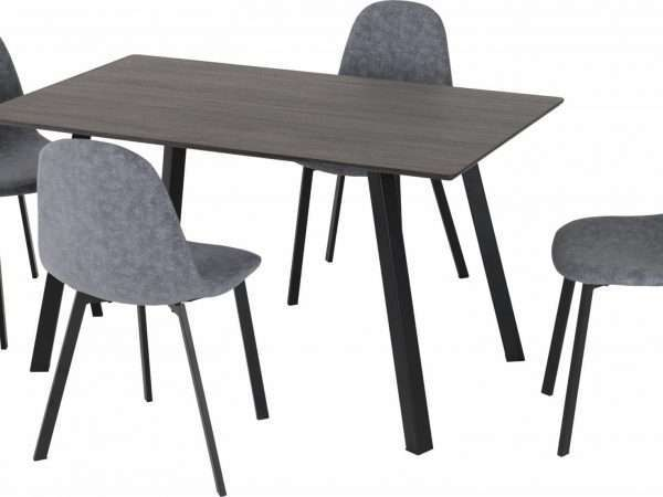 Black Wood Dark Grey Fabric Dining Set