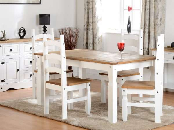 White Distressed Waxed Pine Dining Set