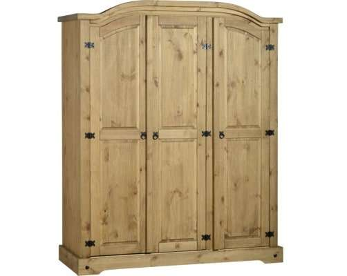Distressed Waxed Pine 3 Door Wardrobe