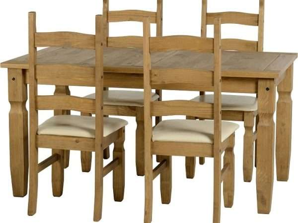 Distressed Waxed Pine/Cream Faux Leather Dining Set