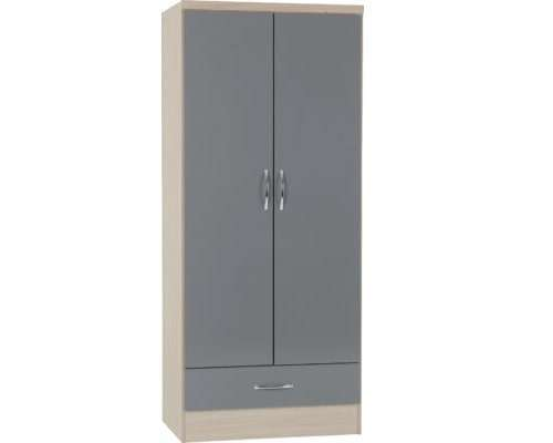 Grey Gloss/Light Oak Effect 2 Door 1 Drawer Wardrobe