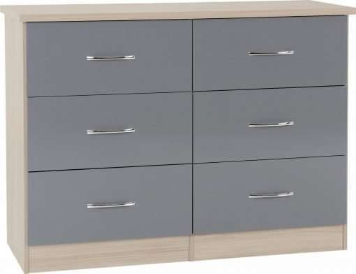 Grey Gloss/Light Oak Effect Veneer 6 Drawer