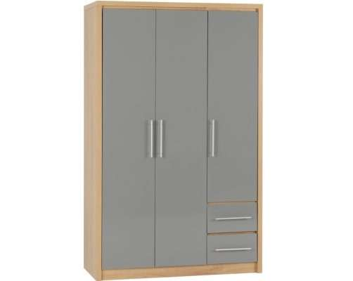 Grey High Gloss/Light Oak 3 Door 2 Drawer Wardrobe