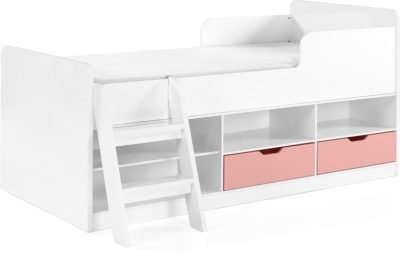 Jasper Low Sleeper Bed - White/Pink Gloss