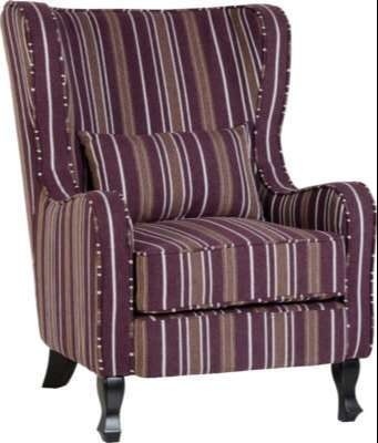 Sherborne Fireside Chair w/ Burgundy Stripe Fabric