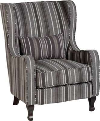 Sherborne Fireside Chair w/ Grey Stripe Fabric
