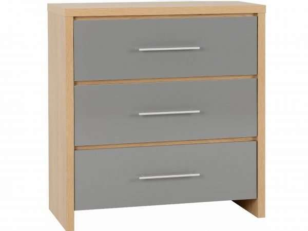 Grey High Gloss/Light Oak Effect 3 Drawer