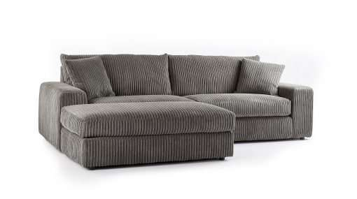 Champion 4 Seater Chaise Jumbo Cord Charcoal
