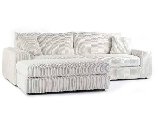 Champion 4 Seater Chaise Jumbo Cord Cream